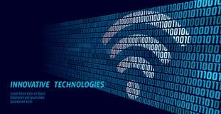 Draadloze Internet-wifiverbinding Grote de stroomaantallen van de gegevens binaire code Globale de innovatieverbinding van de net royalty-vrije illustratie