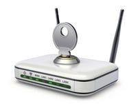 Draadloze router met de sleutel Stock Fotografie