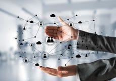 Draadloze technologieën als middelen van bedrijfsmededeling Stock Afbeeldingen