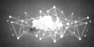 Draadloze technologieën voor verbinding en het delen van gegevens als abstract concept Stock Afbeelding