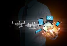 Draadloze technologie en sociale media Stock Foto's