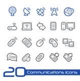 Draadloze van Communicatie de Lijnreeks Pictogrammen// Royalty-vrije Stock Foto