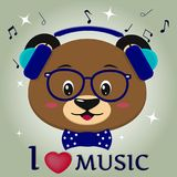 Draag bruine musicus, die aan muziek luisteren Hoofd in blauwe hoofdtelefoons, glazen en een vlinderdasje in de stijl van beeldve stock illustratie