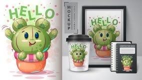 Draag cactus - model voor uw idee royalty-vrije illustratie