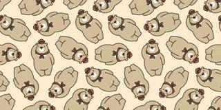 Draag de naadloze geïsoleerde panda van de patroon ijsbeer vector de teddy achtergrond van de sjaalhoed GLB bruin behang herhaalt royalty-vrije illustratie
