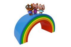 Draag Familie en regenboog Stock Fotografie