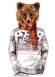 Draag gekleed in gebreide sweater vector illustratie
