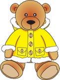 Draag in gele bontjas Stock Foto's