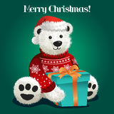 Draag Gevuld Toy Celebrating Christmas Royalty-vrije Stock Foto's