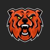 Draag mascotte, het embleemembleem van de Sport esports beer, draag karakter stock illustratie