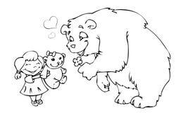 Draag meisje en teddybeer Stock Foto