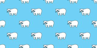 Draag naadloos patroon de vectorvissen van de ijsbeerpanda geïsoleerde vangst behang achtergrondbeeldverhaalblauw herhalen vector illustratie
