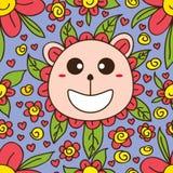 Draag naadloze patroon van het bloem het leuke beeldverhaal stock illustratie