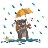Draag op de Regen Witte Achtergrond stock illustratie