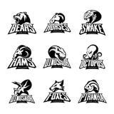 Draag, paard, slang, ram, vos, piranha, dinosaurus, concept van het octopus het hoofd geïsoleerde vectorembleem royalty-vrije illustratie