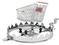 Draag val met binnen boodschappenwagentje, het 3D teruggeven royalty-vrije illustratie