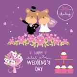 Draag Vector van het de Bloem de Zoete leuke beeldverhaal van het Paarhuwelijk Royalty-vrije Stock Afbeelding