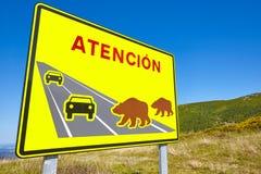 Draag verkeersignaal Bedreigd speciesalarm waarschuwing stock afbeeldingen
