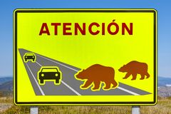Draag verkeersignaal Bedreigd speciesalarm waarschuwing stock fotografie