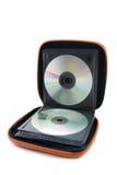 Draagbaar geval CD/DVD op witte achtergrond Royalty-vrije Stock Afbeelding