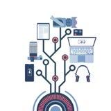 Draagbare Batterij met Laptop, Digitale Tablet, Slimme Telefoons en Fotocamera, Gadgets die van het Concept van de Machtsbank lad Stock Afbeelding