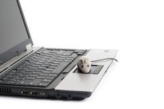 Draagbare computer en muis stock foto's