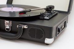 Draagbare draaischijf vinylplatenspeler stock afbeelding