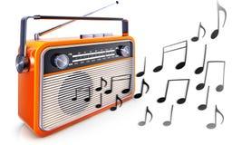 Draagbare radio en muzieknota's Stock Foto's