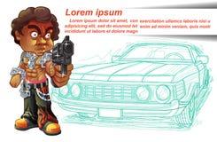 Draagt de vector geïsoleerde misdadiger kanon met zijn uitstekende auto vector illustratie