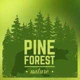 Draagt het pijnboom bossilhouet met wildernis stock illustratie