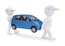 Draagt witte 3d mens twee een blauwe auto Stock Afbeeldingen