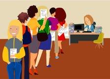 Draai in het bureau verbolgen mensen met documenten vector illustratie