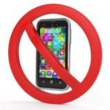 Draai van mobiele telefoons, verboden tekenconcept Royalty-vrije Stock Fotografie