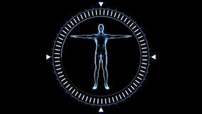 Draaiend cijfer van de mensenmens in het bewegen van wijzerplaatcirkel stock illustratie
