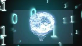 Draaiende hersenen grafisch met binaire codeanimatie vector illustratie