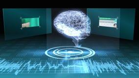 Draaiende hersenen grafisch met interface met chirurgieklemmen stock footage