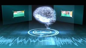 Draaiende hersenen grafisch met interface met chirurgieklemmen stock videobeelden