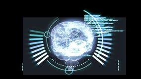Draaiende hersenen grafisch met interfaceanimatie royalty-vrije illustratie