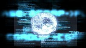 Draaiende hersenen grafisch met interfaceanimatie stock footage