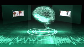 Draaiende transparante menselijke hersenen grafisch met interface stock videobeelden