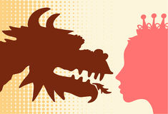Draak & prinses Stock Afbeelding