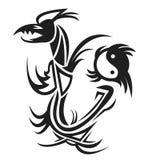 Draak & yin yang tatoegering vector illustratie