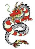 Draak, decoratieve handtekening, druk, tatoegeringsschets, sticker Kleurrijke getrokken slang met patronen en gedetailleerd velen stock illustratie