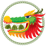 Draak die het ontwerp van de rijstbol eten Royalty-vrije Stock Foto