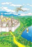 Draak die over de oude stad vliegen royalty-vrije illustratie