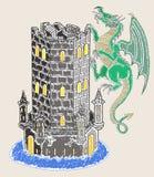 Draak die toren, waterverfstijl vernietigen Stock Fotografie