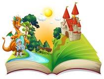 Draak en Boek stock illustratie