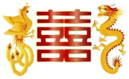 Draak en Phoenix met Chinees Dubbel Geluk Stock Foto
