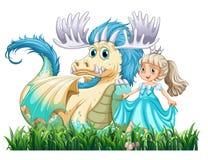 Draak en prinses Royalty-vrije Stock Foto