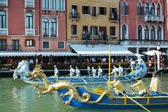 Draak en Regata Storica, Venetië Royalty-vrije Stock Afbeeldingen